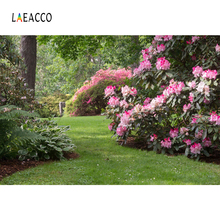 Laeacco Spring Pink Flower Green Grass Garden Park Outdoor Natural View Photographic Backgrounds Photo Backdrops Studio