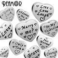 Reamor alta polido grânulos de coração com palavras de amor aço inoxidável 316l beads encanto europeu pandora jóias pulseira