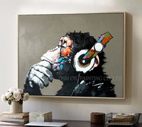 Free Shipping Big Discount Wholesale Handmade Fine Art Abstract Thinking Monkey Oil Painting On Canvas For