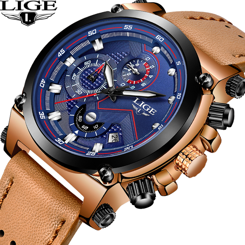 LIGE Men Watchs Top Brand Luxury Quartz Business Watches Mens Casual Leather Waterproof Sport Wrist male clock Relogio Masculino sunward relogio masculino saat clock women men retro design leather band analog alloy quartz wrist watches horloge2017
