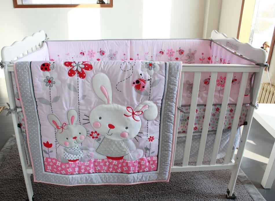 2017 Cartoon 7pcs Appliqued Baby Cot Crib Bedding Set For