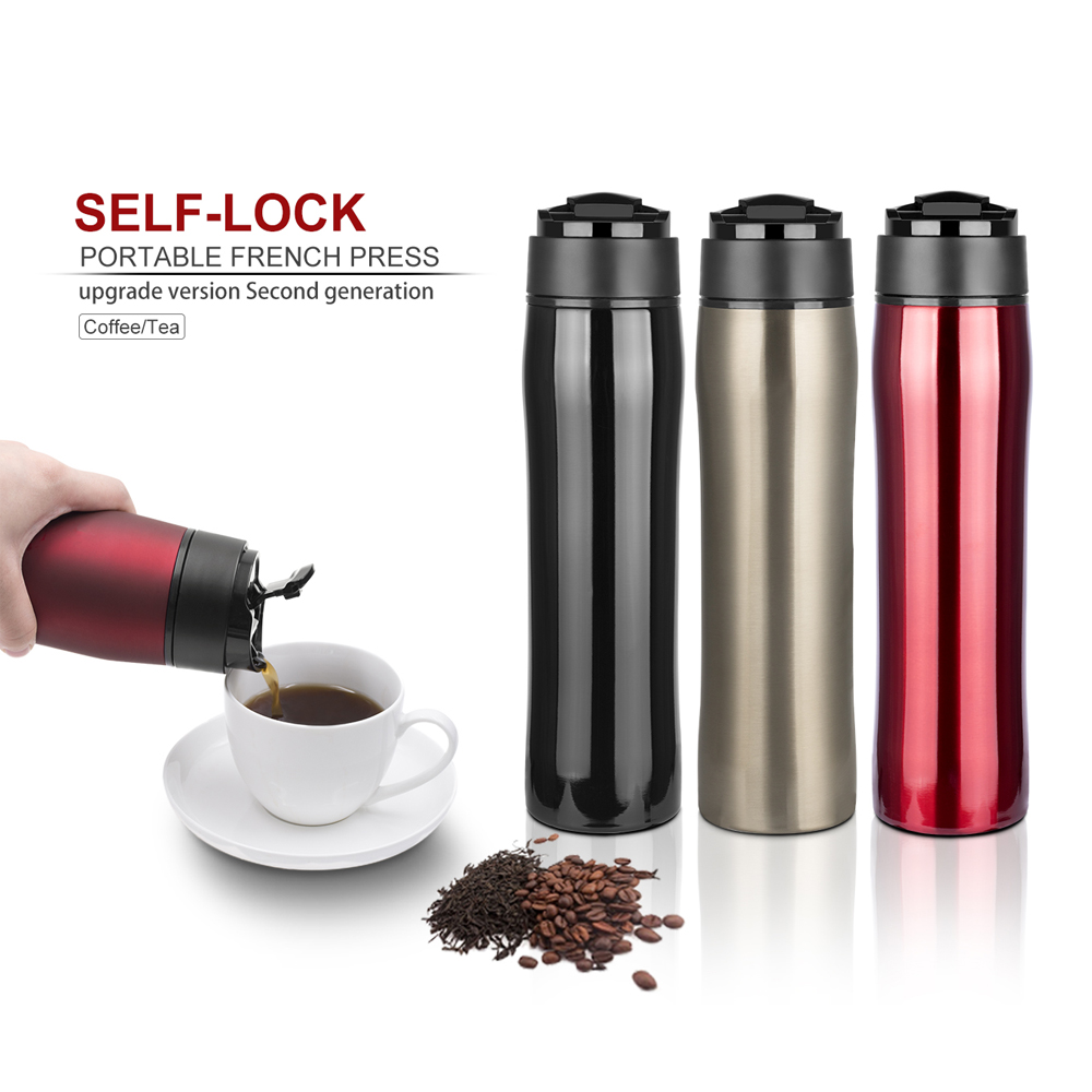 Tragbare Französisch Pressen Kaffee Maker Becher 350 ml Edelstahl BPA FREI Filtration Wasser Isolation Tee Kaffee Für Reisen
