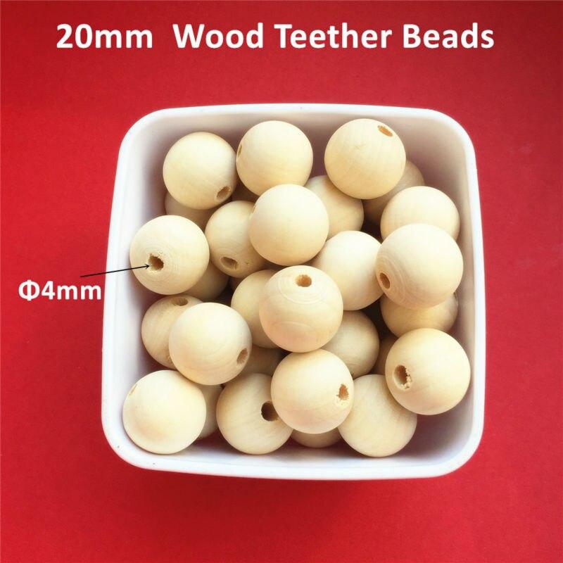 Prix pour Chenkai 50 pcs 20mm Ronde Naturelle Perles En Bois Inachevé Bébé de Dentition Dentition En Bois Bijoux Collier Perles