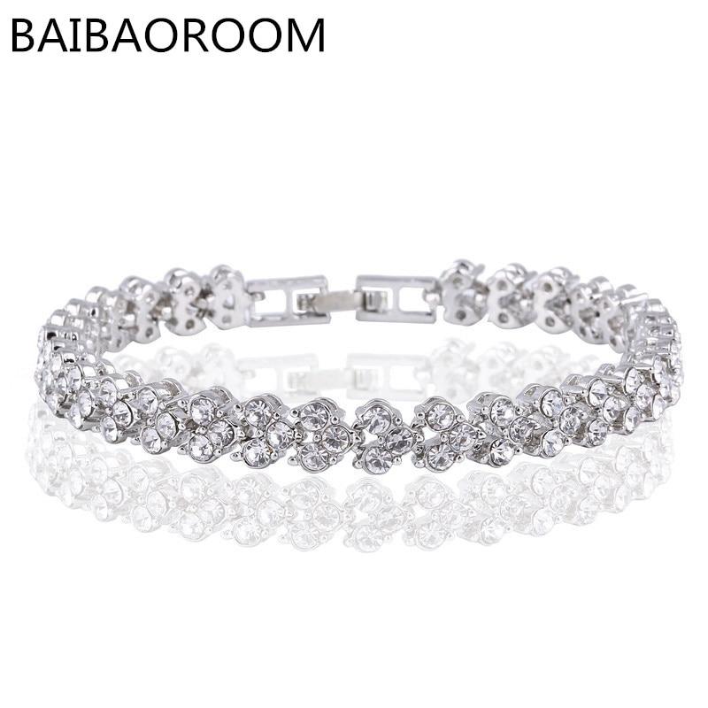 Hot Selling Roman Chain Bracelet for Women Luxury Cubic Zircon Inlay Charm Bracelet Bride Wedding Jewelry Pulseira Feminina