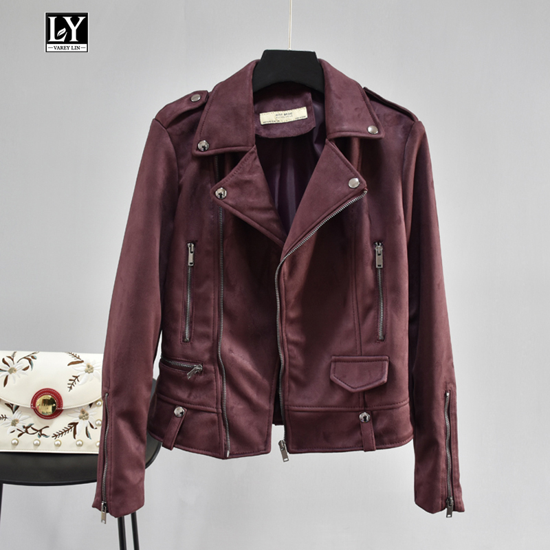 Ly Varey Lin 2019 Spring Women   Suede   Jacket Short Coat Motorcycle Zipper Epaulet Female Black Punk Rivet   Suede     Leather   Outerwear