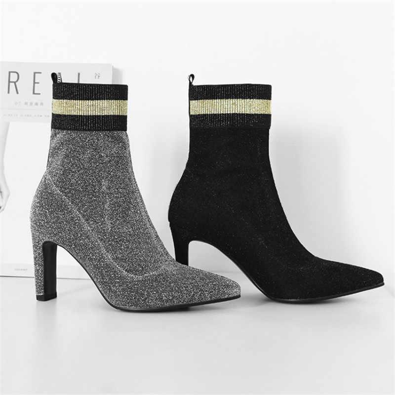 Örgü Kadın Çorap Çizmeler Sivri Burun yarım çizmeler kadınlar için streç kumaş bling bling sequins yüksek topuk pist patik