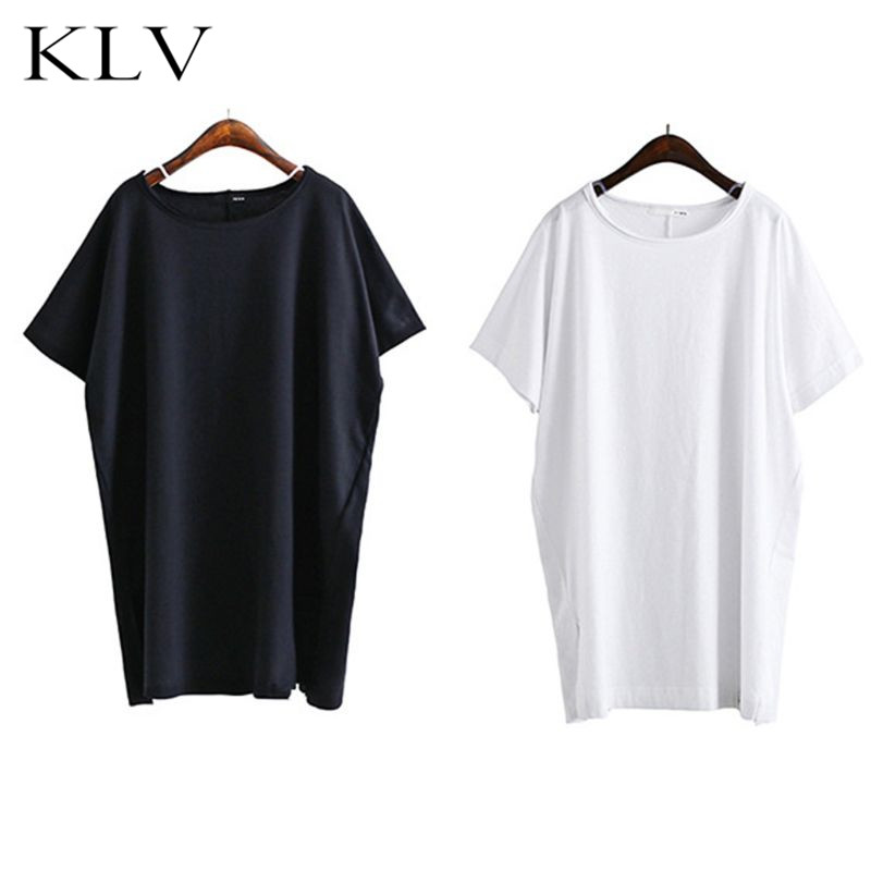 Womens Summer Short Sleeves Oversized T Shirt Solid Color Round Neck Side Split Pullover Loose Asymmetric Hem Tunic Tops-in T-Shirts from Women's Clothing on AliExpress - 11.11_Double 11_Singles' Day 1