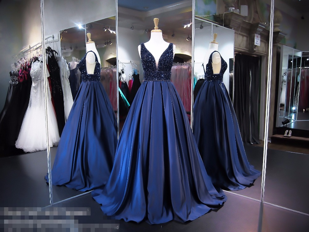 0f7630ef780c Navy Blue Satin Ball Gown Long Prom Dresses 2017 V Neck Tank Heavily Beaded  Crystals Sleeveless Sparkle Prom Gowns Custom Made