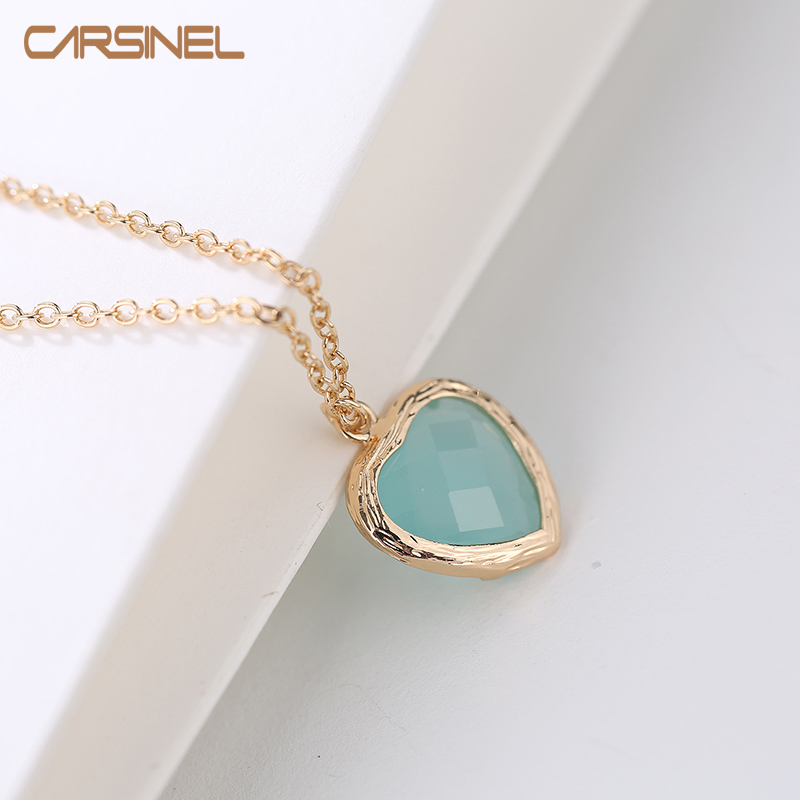 CARSINEL Brand 3 colors Gold color Heart Glass Necklaces & Pendants For Women Fashion Jewelry wholesale