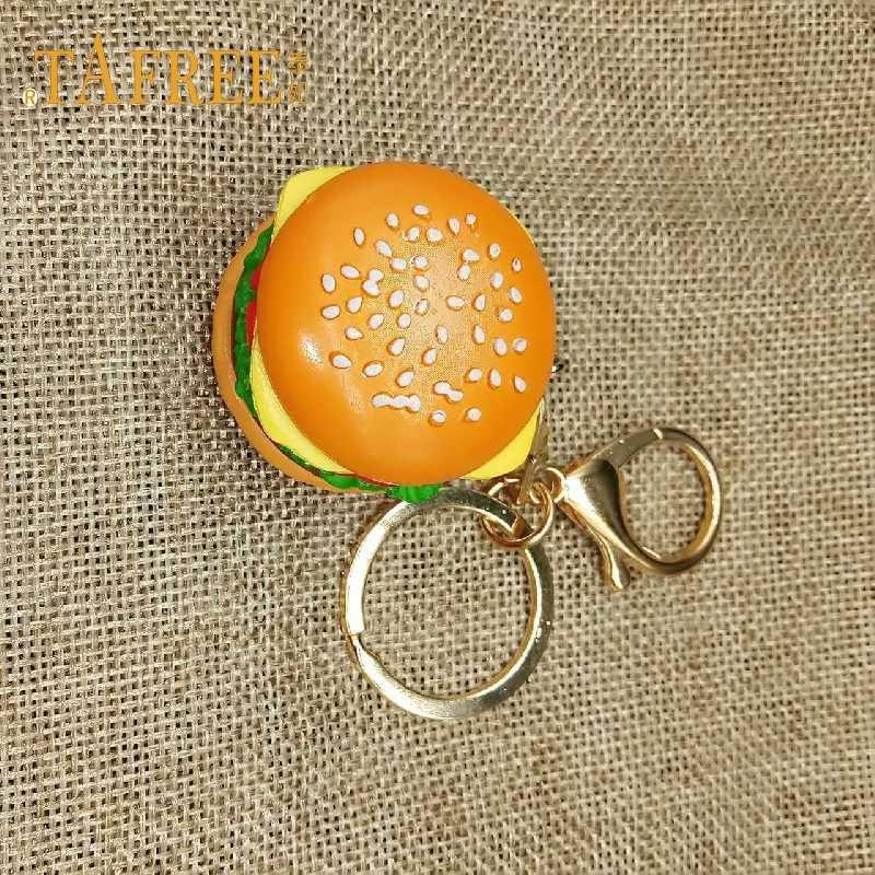 TAFREE Mô Phỏng Bánh Hamburger Keychain Mô Hình Thực Phẩm Handmade Phụ Kiện Trẻ Em của Túi Mặt Dây Chuyền Vòng Chìa Khóa Đồ Trang Sức DSC1859