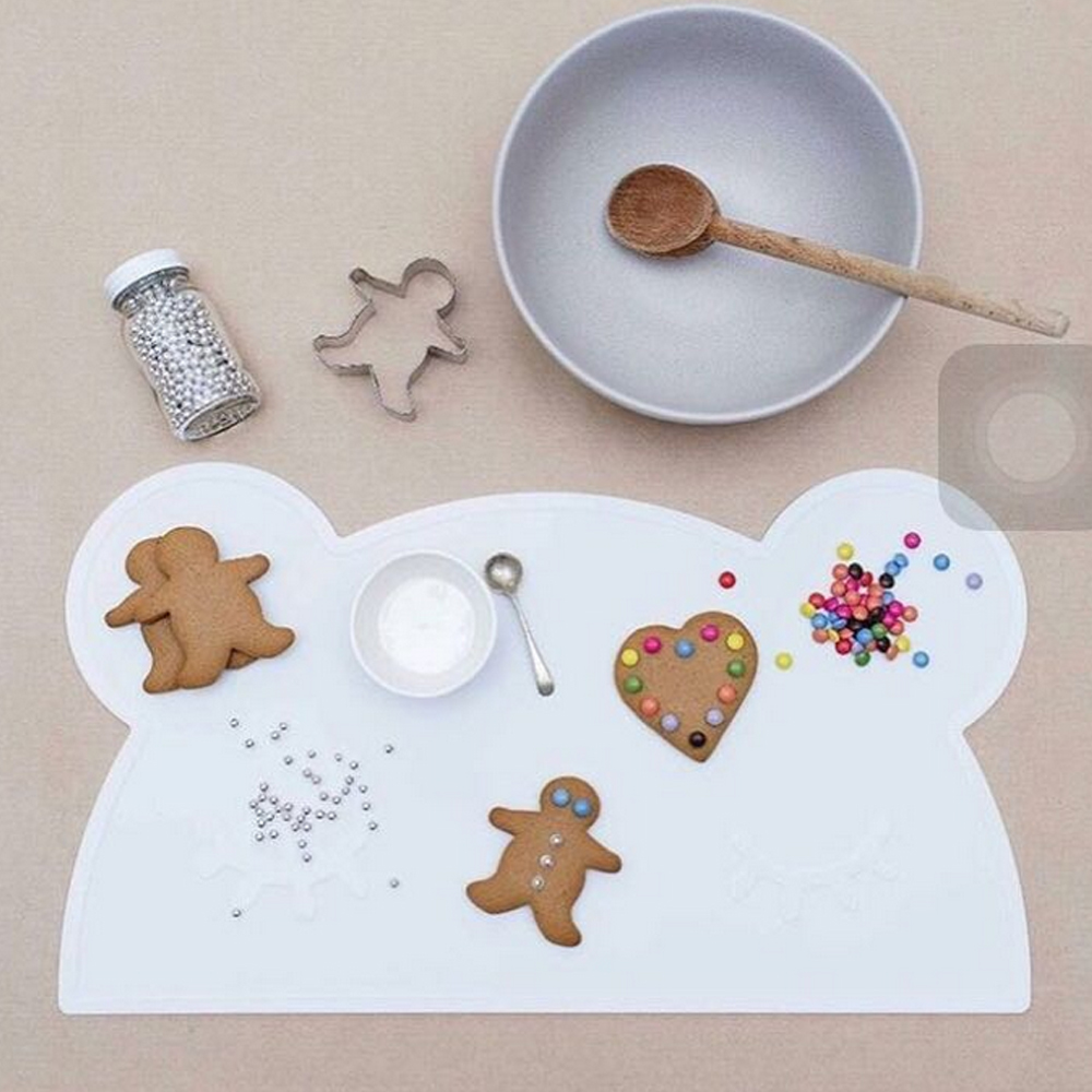 Portable Silicone Placemat Heat Resistant Bear Shaped Plat Mat Kid Baby  Tableware Mat Children Placemat Table
