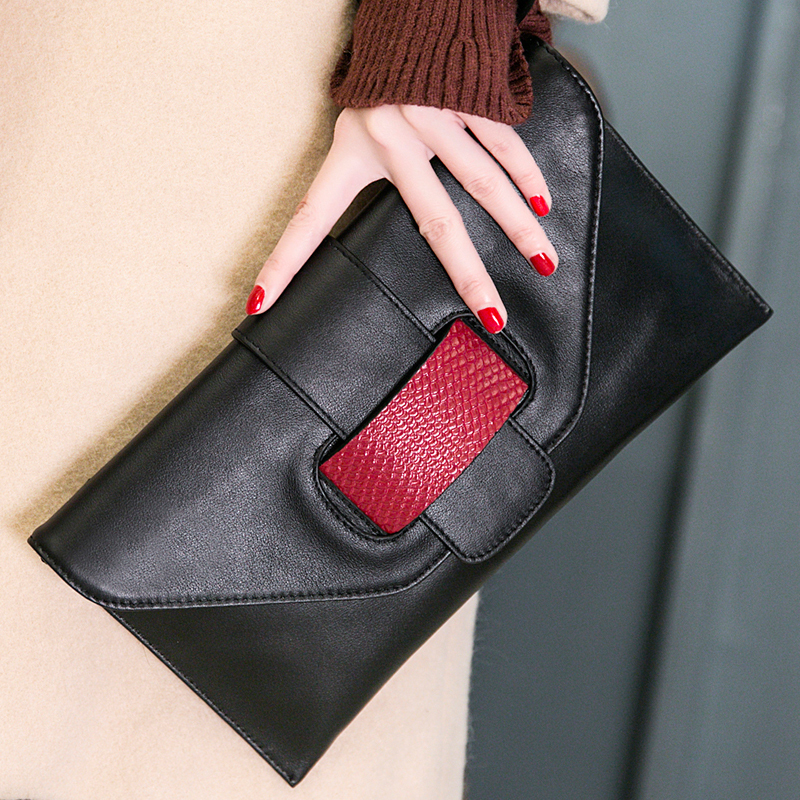 Luxury Genuine Leather Designer Women Bags Envelope Clutch Bag Black Handbag Big Purse Bag High Quality Mother Gift Day Clutches women day clutch genuine leather envelope bag banquet women handbag vintage cowlayer messenger bag