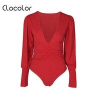 Clocolor المرأة بذلة الصلبة الأحمر عادي القطن نحيل السراويل مطوي 2018 الموضة الحديثة مثير أزياء مثير المرأة بذلة