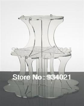 Free Shipping Elegant Flower Shaped 3 Tiers Acrylic Cake Display Stand For Party/Wedding