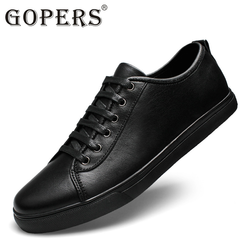 GOPERS  2017 New Breathable Men Genuine Leather Shoes Fashion Flat Male Casual Shoes 37-47