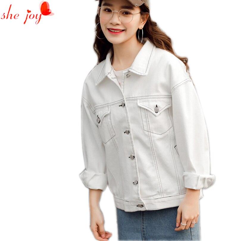 chaquetas de primavera para mujer de moda vaquera blanca ocasional abrigo denim de manga larga