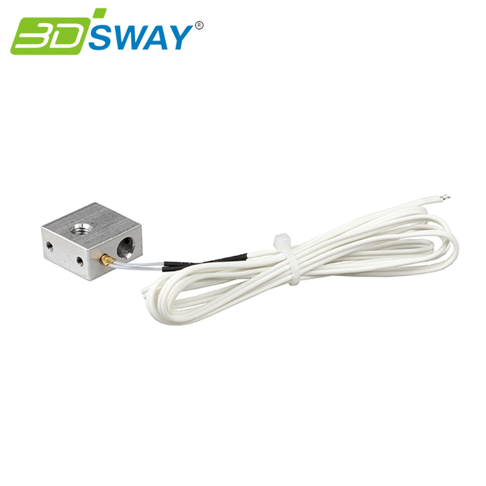 3DSWAY 3D printer heating block kit  Aluminum block with copper sleeve NTC thermistor 100k for 3D Printer Makerbot