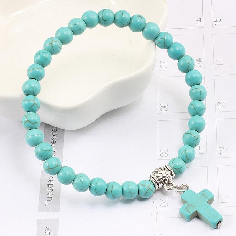 Natural Turquoises Matte Black Stone Beads Strand Bracelets for Women Men Jesus Cross Charms Beaded Bracelet Jewelry Accessories