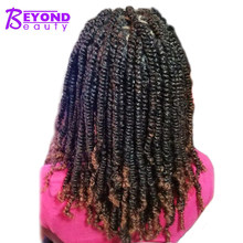 Beyond Beauty Fluffy Spring Twist Hair Extensions Black Brown Burgundy Ombre Crochet Braids Kanekalon Synthetic Braiding Hair(China)