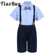 Bloem Jongens Wedding Past Kids Bruidegom Smokings Kinderen Pakken Party 4 stuks Past Jongens Gentleman Outfit Revers Shirt Tops met bowtie(China)