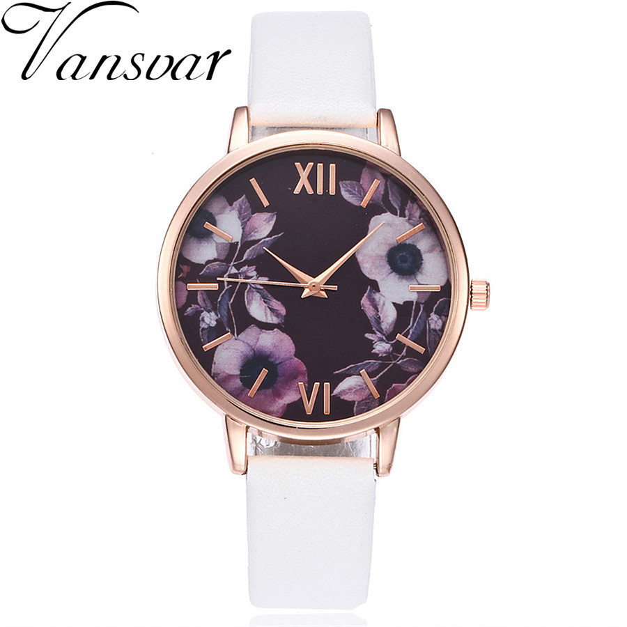 Vansvar Brand Women Rose Flower Watch Casual Leather Wrist Watches Women Dress Ladies Quartz Watch Clock Drop Shipping vansvar brand fashion casual relogio feminino vintage leather women quartz wrist watch gift clock drop shipping 1903