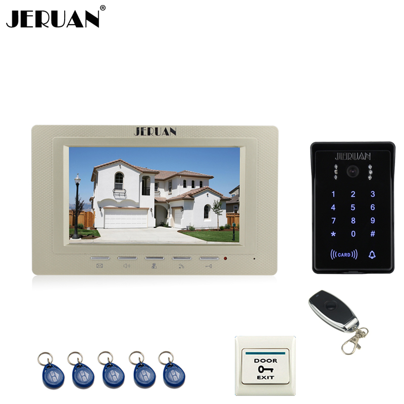 JERUAN Home wired 7 inch video door phone intercom system RFID waterproof touch key password keypad COMS camera +remote control home 7 inch tft lcd wired monitor color video door phone ir coms outdoor camera with rfid keypad doorphone for intercom system