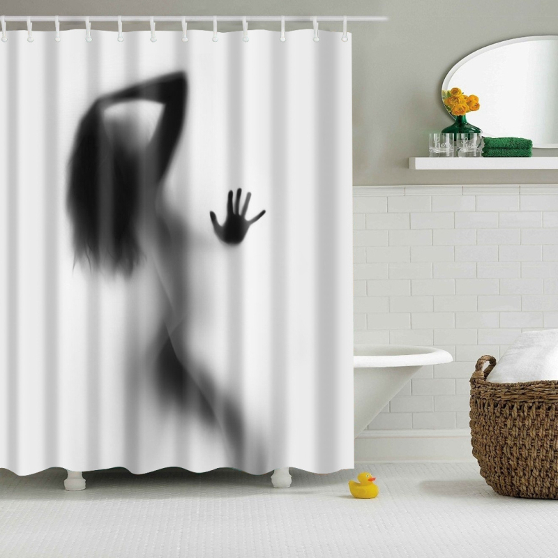High Quality Waterproof Women Shadow Shower Curtain with Hooks <font><b>Sexy</b></font> <font><b>Girl</b></font> Portrait Bathroom Curtains Curtains for Bathroom <font><b>18</b></font> image