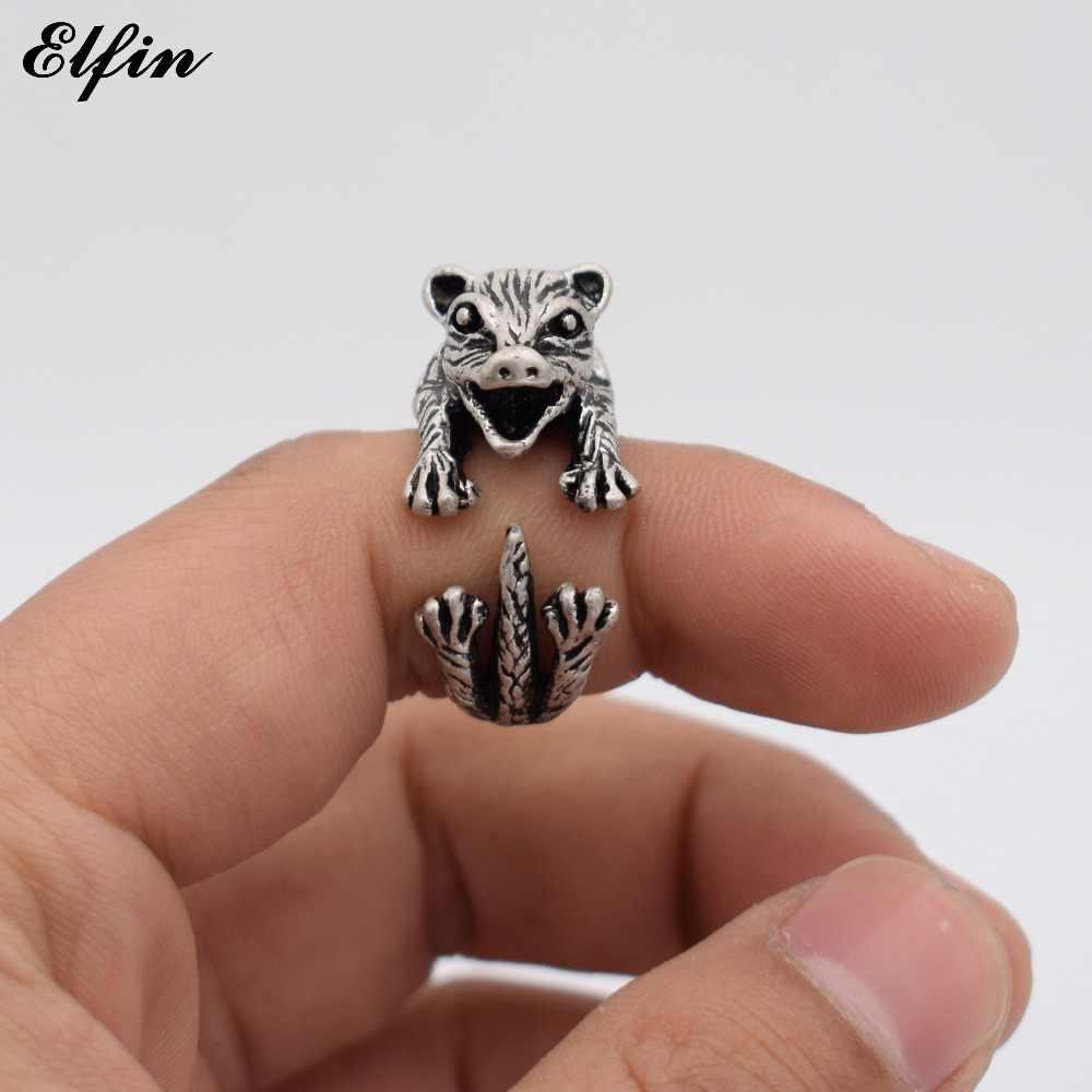 Elfin Vintage réglable bague Opossum hommes à la mode mignon bijoux anneaux pour femmes Anillos Mujer Warcraft