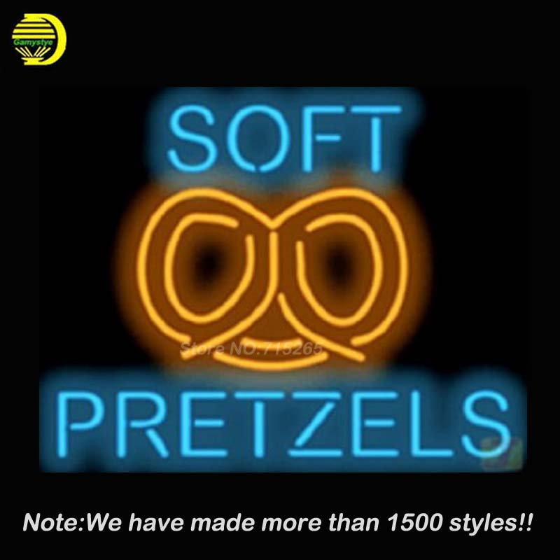 New Soft Pretzels neon Burrito Light Sign Real Glass Tube Recreation Store Neon Signs Food store Display Advertising lamp 17x14