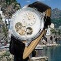 JARAGAR Tourbillon Wickeln Automatische Uhr Männer Schwarz Lederarmband Dual bewegungen männer Mechanische Uhr-in Mechanische Uhren aus Uhren bei