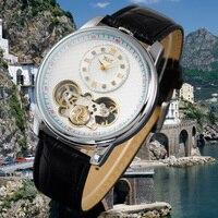 JARAGAR Tourbillon Wrap Automatic Clock Men Black Genuine Leather Strap Dual Movements Men's Mechanical Watch