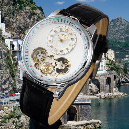Reloj Mecánico JARAGAR Tourbillon Wrap automático hombres negro correa de cuero genuino doble movimiento hombres