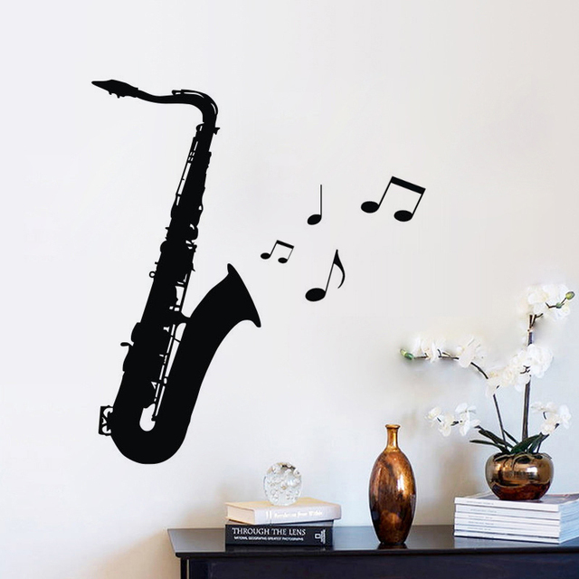 Saxophone Wall Stickers Music Room Decoration DIY Vinyl Wall Decals Musical  Instrument Nursery Interior Wall Decor
