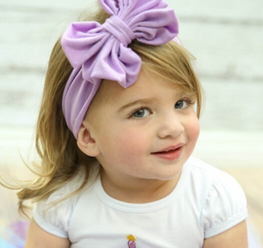 100pcs/lot fedex fast free shipping korean style chidren cartoon bow headwear kid cotton big bow headband candy color