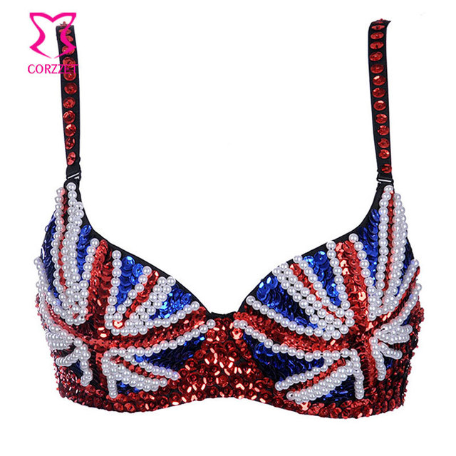 ee3d2feeb114c New Punk Red Blue Contrast Color British Flag Pattern Sequin Beading  Strappy Push Up Bras Sexy Women Bra Bralette Brasier Mujer