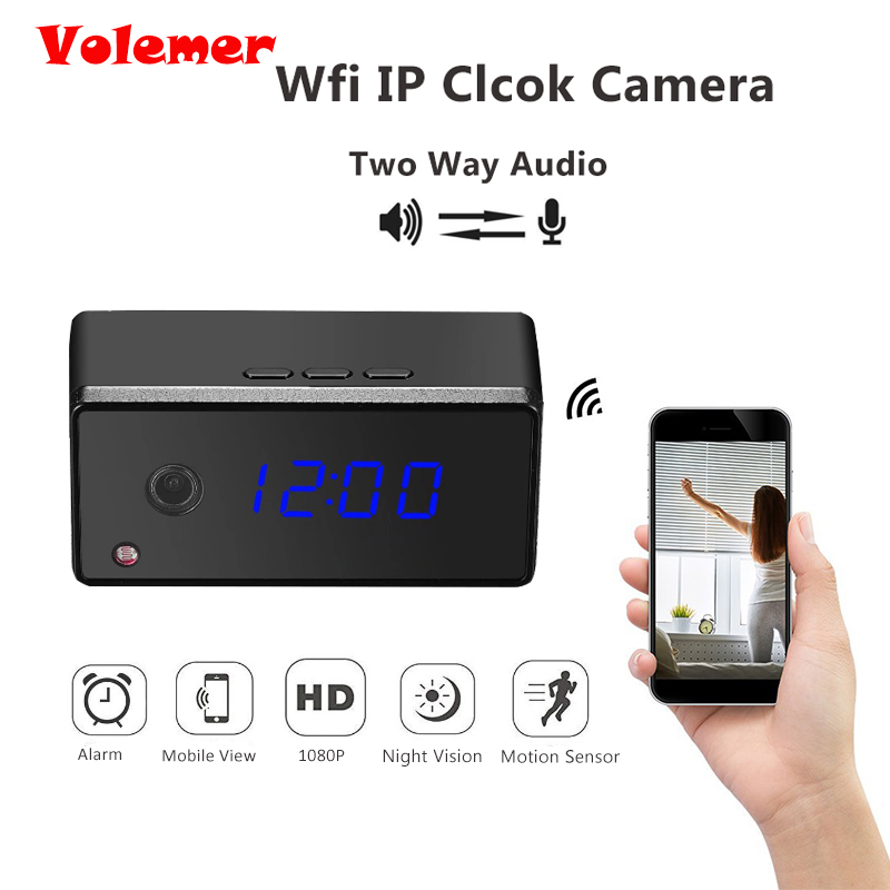 Volemer 1080P 720P Mini Wifi IP Clock Camera Table Clock Camera Alarming Setting IR Night Vision Mini Camera Motion Sensor Cam