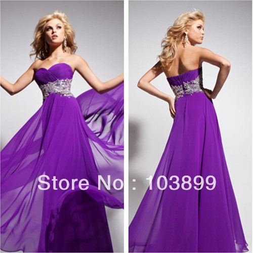 Euro Type Empire Sweetheart Pleated Bodice Bright Purple Formal Prom