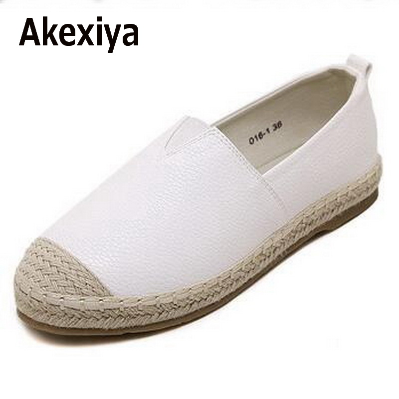Akexiya 2017 Loafers shoes Women slip on Flats Solid spring Summer ladies round toe white shoe Plus Size footwear xiaying smile woman flats women brogue shoes loafers spring summer casual slip on round toe rubber new black white women shoes