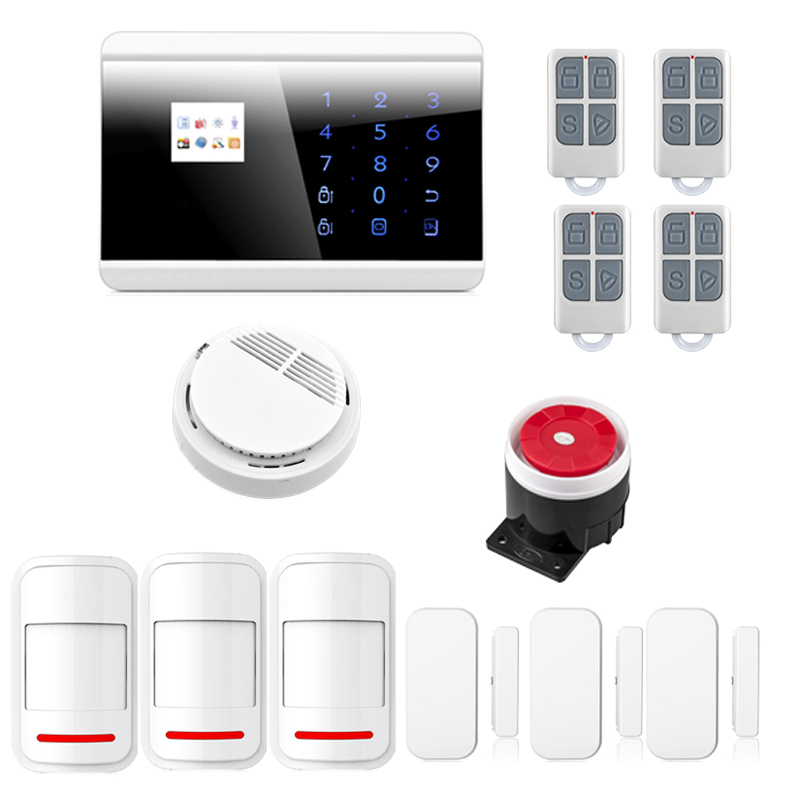 Android/ iOS APP Control Touch Screen Wireless GSM&PSTN Dual Network Burglar Alarm System for Home House Security wireless gsm pstn home alarm system android ios app control glass vibration sensor co detector 8218g