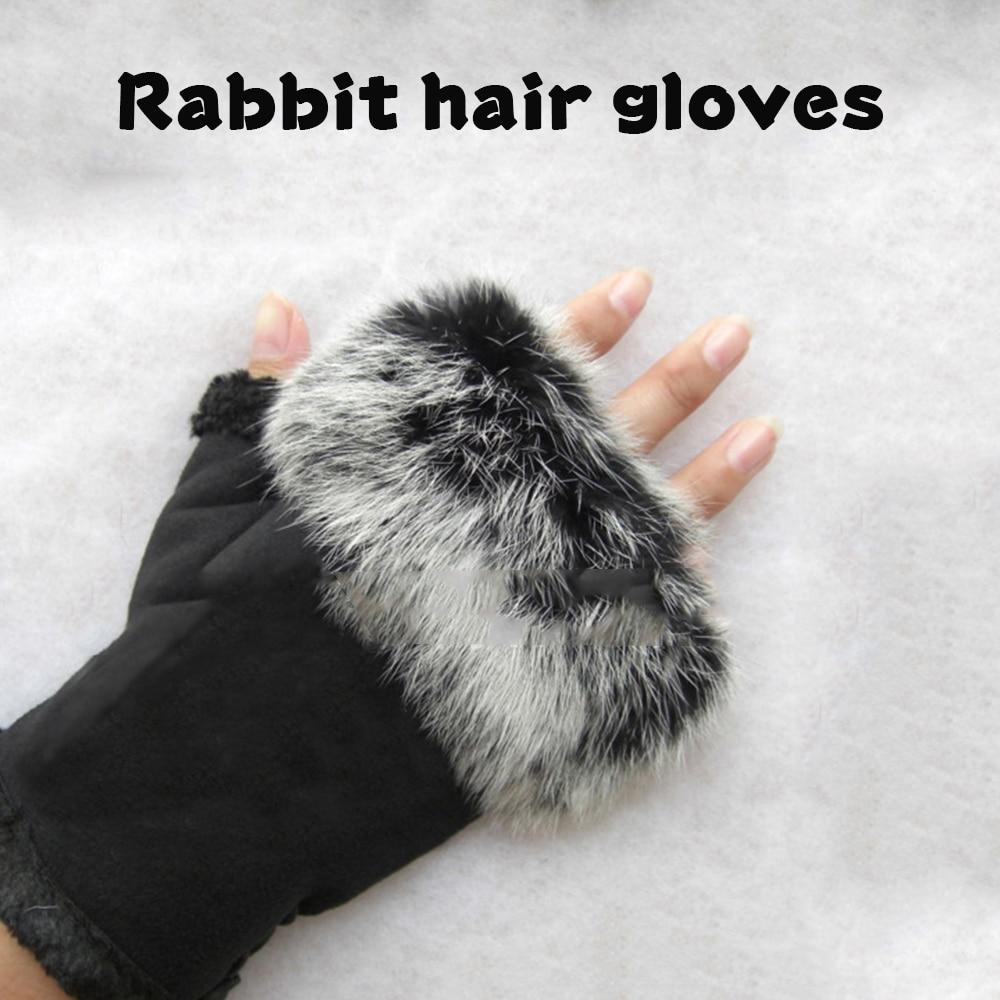 1 Paar Frauen Handschuhe Freien Laufen Wandern Radfahren Sport Handschuhe Winter Warm Faux Kaninchen Fell Hand Handgelenk Warme Halb Finger Handschuhe Hohe Belastbarkeit