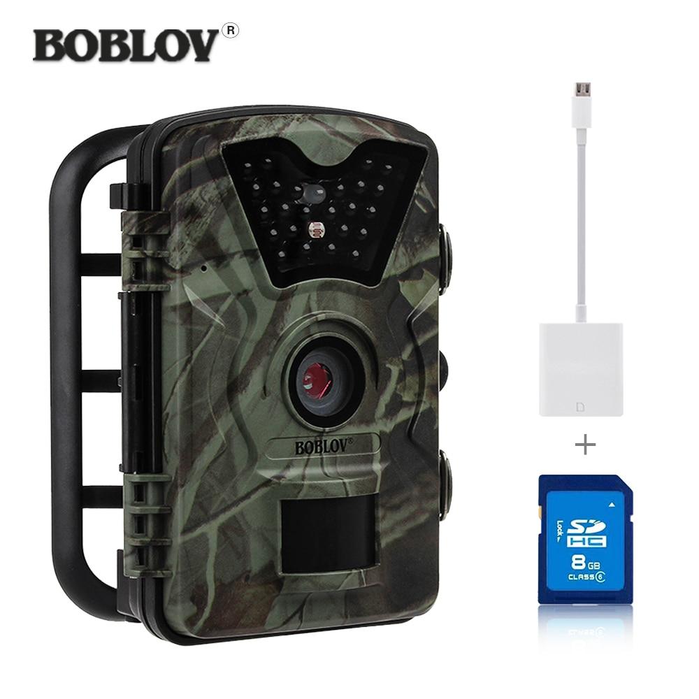 "BOBLOV NO Glow 2.4"" Scounting Hunting Camera HD 12MP 1080P Wildlife Trap Motion Detection Trap Cam +8GB SD Card +Card Reader"