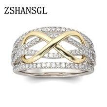 d8e1a86c479e Anillo infinito de oro Vintage joyería de moda circón Anel Bijoux Bague  para anillos de boda para mujer accesorio anillo femenin.