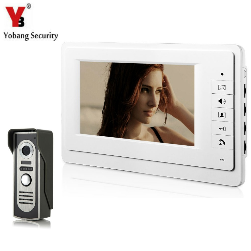 Yobang Security Video Door Intercom 7 Inch Monitor Wired Video Doorbell Door Phone Speakephone Intercom Camera Security System