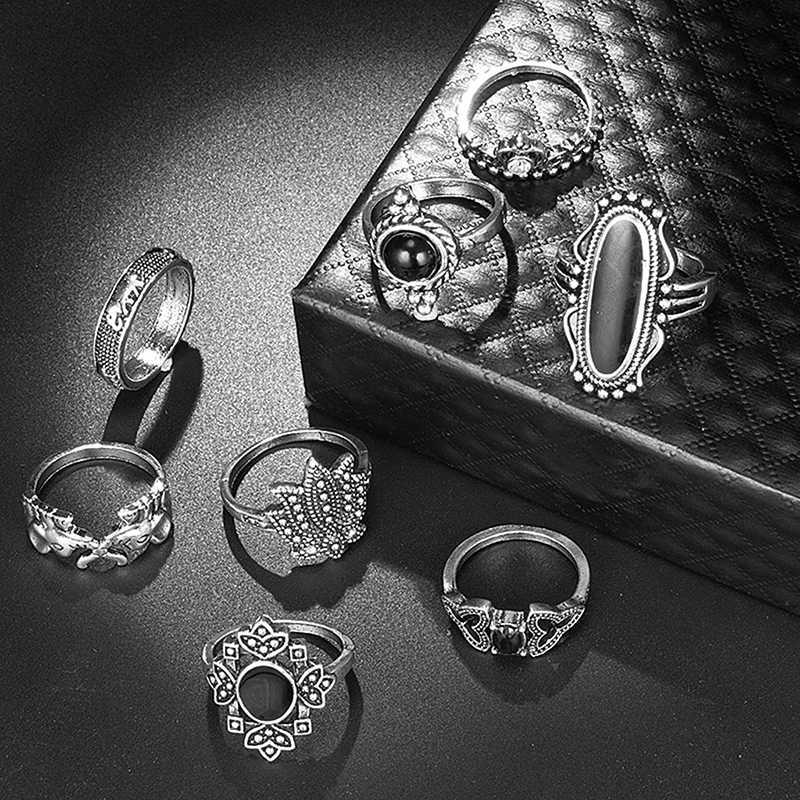 11 pçs conjunto de anel de jóias indiano animal elefante flor lótus mão segurando coração preto anel de pedra para as mulheres presentes festa z5m218