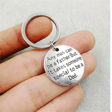 1 Pcs Father's Day Man Can Be A Father Dad Gift Silve Love Keychains Warm Gifts Letter Keyring Key Chain