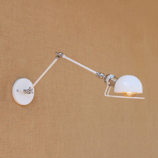 Wall Luminaire Brace Modern Swing Arm Lamp Light Sconce Classic Shade White Design Reading Sconces Retro Adjustable Fixture