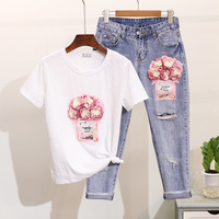 Spring Summer Girls Ladies Cotton T shirt Sets Women's Two Piece Set New Sequin Perfume Bottle Flower Tee + Ripped Jeans Femme