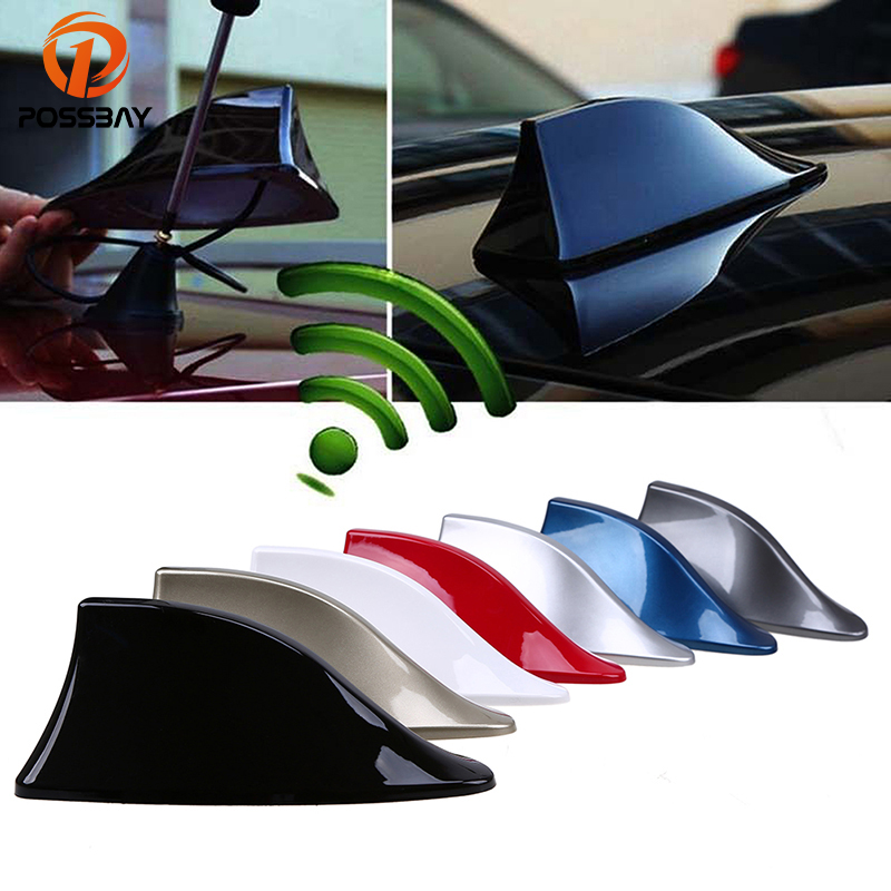 POSSBAY Car Roof Special Radio FM Shark Fin Antenna Signal Aerials Universal Auto Radio Antenna for BMW Nissan Skoda Ford VW universal car antenna car roof fm radio antenna small car modified antenna metallic carbon antenna for mazda speed