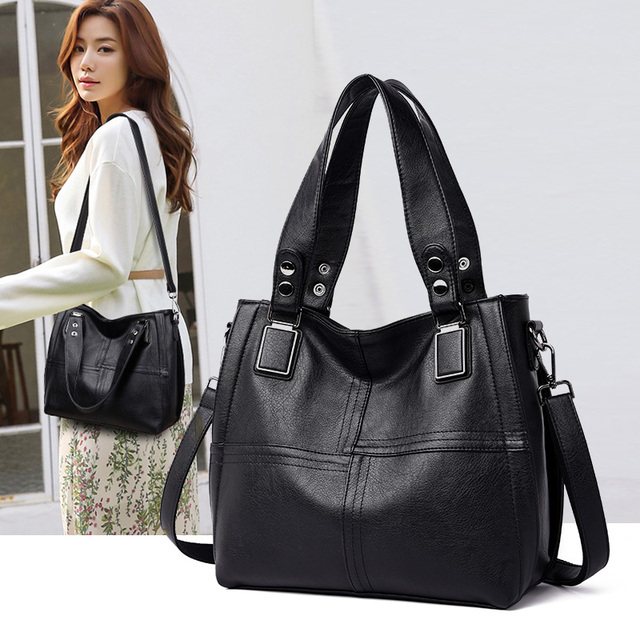 NEW Fashion Leather Women Bags Handbags Women Famous Brands Luxury Designer Plaid Sholder Bag Ladies Big Casual Tote Sac A Main