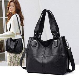 Image 1 - Yeni moda deri kadın çanta çanta kadın ünlü markalar lüks tasarımcı ekose omuz çantası bayanlar büyük Casual Tote Sac bir ana